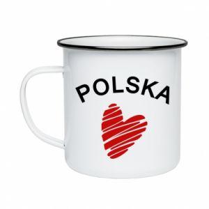 Kubek emaliowany Serce Polska