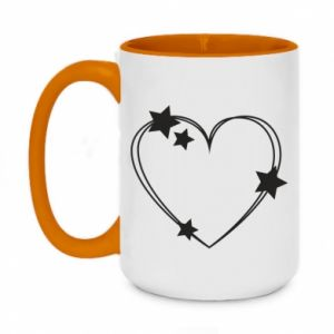 Two-toned mug 450ml Heart with stars