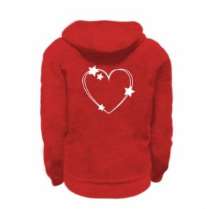 Kid's zipped hoodie % print% Heart with stars