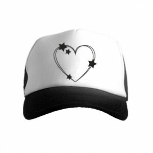 Kid's Trucker Hat Heart with stars