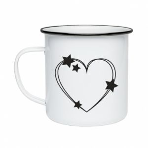 Enameled mug Heart with stars
