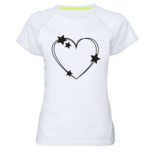 Women's sports t-shirt Heart with stars