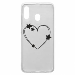 Samsung A20 Case Heart with stars