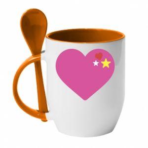 Kubek z ceramiczną łyżeczką Różowe serce