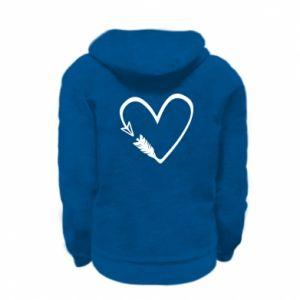 Kid's zipped hoodie % print% Heart