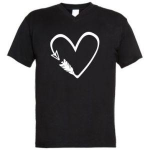 Męska koszulka V-neck Serce