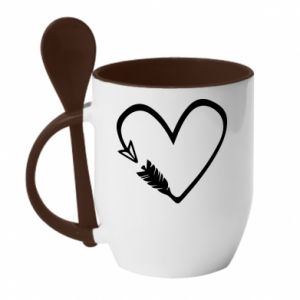 Kubek z ceramiczną łyżeczką Serce