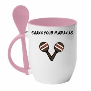 Kubek z ceramiczną łyżeczką Shake your maracas