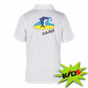 Koszulka polo dziecięca Shark on the beach