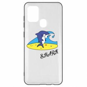Etui na Samsung A21s Shark on the beach