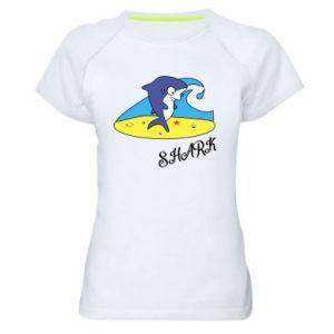 Koszulka sportowa damska Shark on the beach