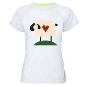 Koszulka sportowa damska Sheep with heart