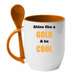 Kubek z ceramiczną łyżeczką Shine like a gold & be cool