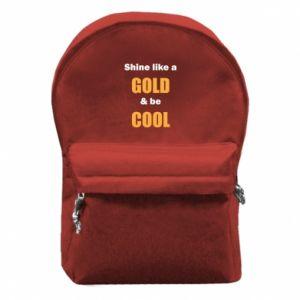 Plecak z przednią kieszenią Shine like a gold & be cool