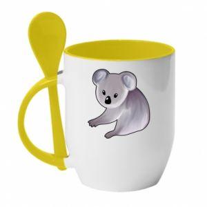 Kubek z ceramiczną łyżeczką Shy koala - PrintSalon
