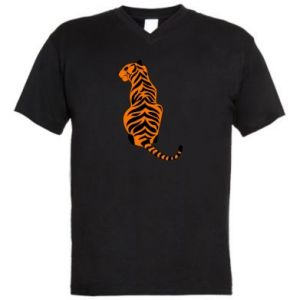 Men's V-neck t-shirt Tiger sitting