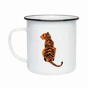 Enameled mug Tiger sitting