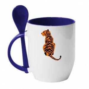 Kubek z ceramiczną łyżeczką Siedzi tygrys