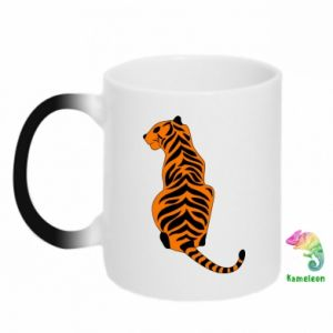 Chameleon mugs Tiger sitting