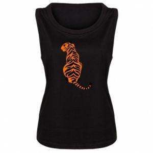 Damska koszulka bez rękawów Siedzi tygrys