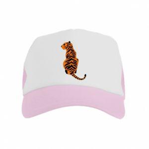 Kid's Trucker Hat Tiger sitting