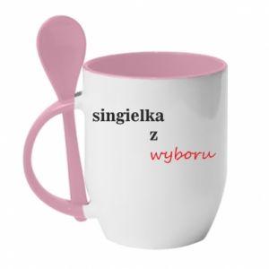 Mug with ceramic spoon Single by choice - PrintSalon