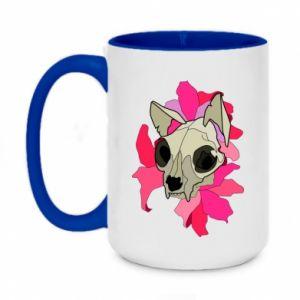 Two-toned mug 450ml Skull of a cat