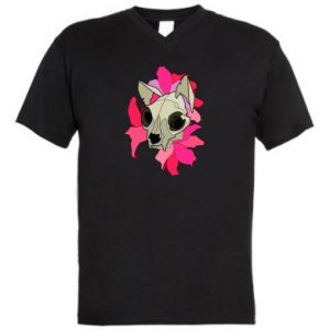 Men's V-neck t-shirt Skull of a cat