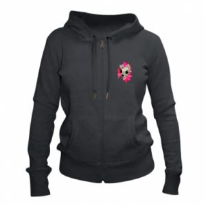 Women's zip up hoodies Skull of a cat