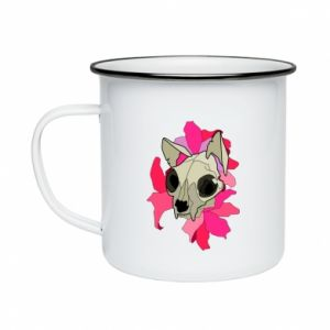Enameled mug Skull of a cat