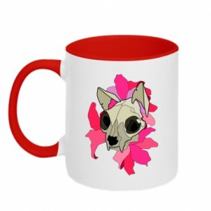 Two-toned mug Skull of a cat - PrintSalon