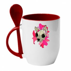 Mug with ceramic spoon Skull of a cat - PrintSalon