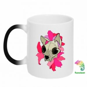Chameleon mugs Skull of a cat