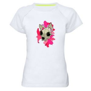 Women's sports t-shirt Skull of a cat