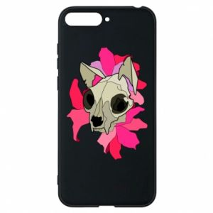 Phone case for Huawei Y6 2018 Skull of a cat - PrintSalon