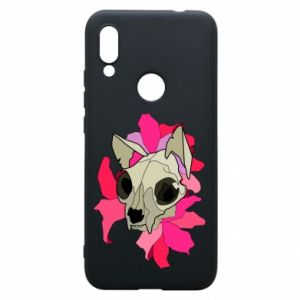 Phone case for Xiaomi Redmi 7 Skull of a cat - PrintSalon