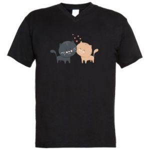 Męska koszulka V-neck Śliczne koty