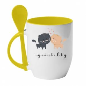 Mug with ceramic spoon Cute cats