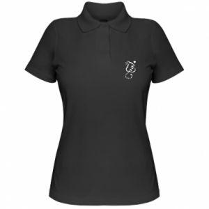 Women's Polo shirt Cute cat with a heart