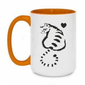 Two-toned mug 450ml Cute cat with a heart