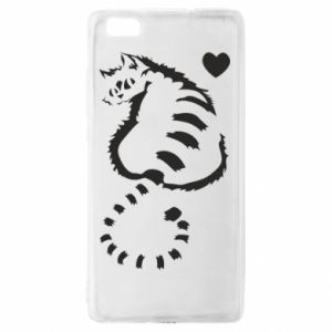 Huawei P8 Lite Case Cute cat with a heart