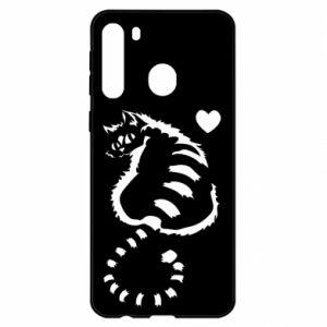 Etui na Samsung A21 Śliczny kot z sercem