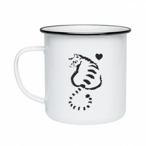 Enameled mug Cute cat with a heart