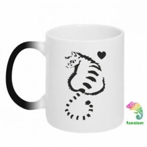 Kubek-kameleon Śliczny kot z sercem