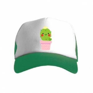 Kid's Trucker Hat Cute cactus smiling