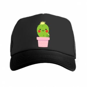Czapka trucker Śliczny uśmiechnięty kaktus