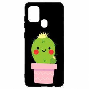 Etui na Samsung A21s Śliczny uśmiechnięty kaktus