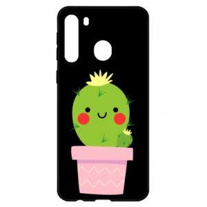 Etui na Samsung A21 Śliczny uśmiechnięty kaktus
