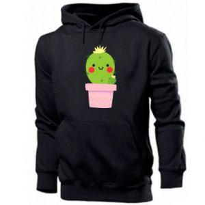 Men's hoodie Cute cactus smiling