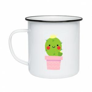 Kubek emaliowany Śliczny uśmiechnięty kaktus